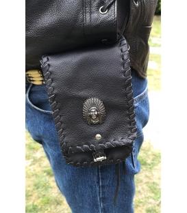 Pochette cuir noire biker