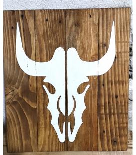 Tableau bois tête de vache blanche
