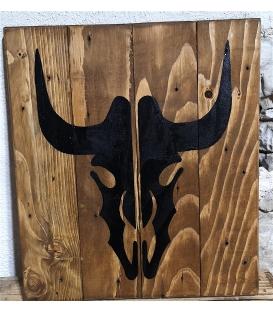 Tableau tête de vache peinte noire