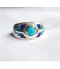 Bague anneau turquoise/Lapis Lazuli