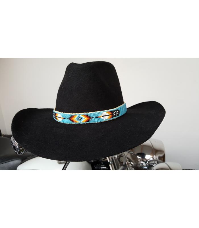 magasins d'usine grande variété de styles les mieux notés dernier tour de chapeau perlé monté sur cuir country cowboy ...