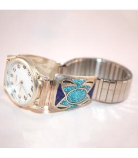 Montre incrustation turquoise et lapis lazuli